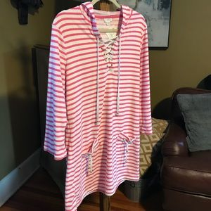 Cabanalife Stripe Terry Hoodie Coverup sz L